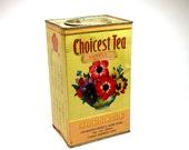 LG Floral Tea Tin, Choicest Tea vintage advertising made in Hong Kong.