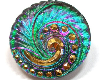 Peacock Czech glass BUTTON, Emerald green & purple pink swirl, 27mm.