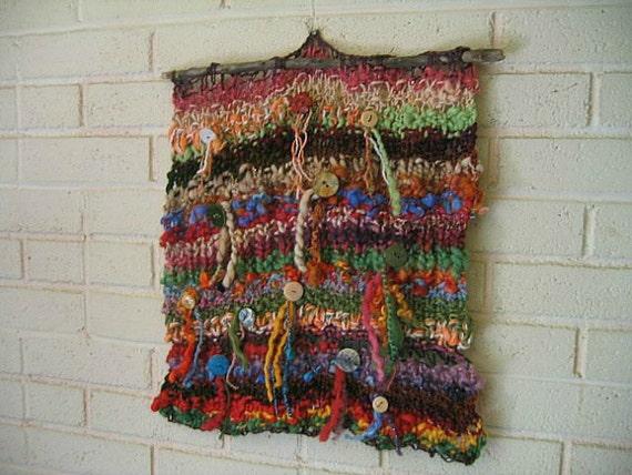 Fiber Art Wall Hanging Handspun Wool Yarns