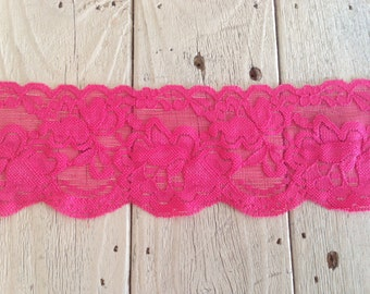 Wide Stretch Lace HOT PINK no. 6 -3  inch -2 yards for 4.19