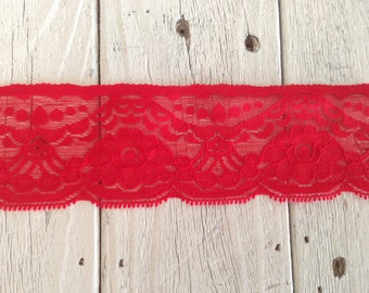 """New-Stretch Lace RED 2 1/4"""" -2 yards for 2.99"""