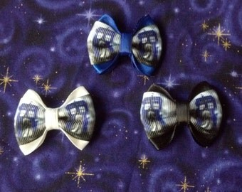 Dr. Who Tardis Hair Bow Small Size