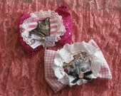 two bow fairy kawaii hair clips lace duel brooch pink applique