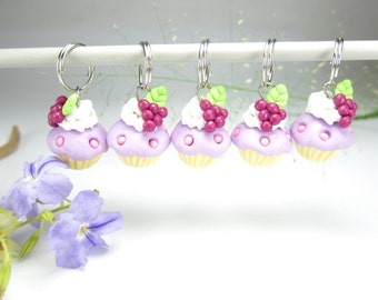 Grapes Cupcake Stitch markers 5x knitting stitch markers food charms miniature polymer clay purple pink knit gift for knitters cute unique