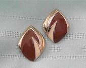 ON SALE was 12.99 Vintage Brown Enamel Earrings