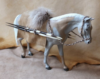 The Spear Carrier - repainted custom altered Breyer Traditional Rugged Lark with leather and fur saddle bridle spears art horse