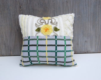 Chenille Pillow - Amy - Green Yellow Vintage Chenille Handmade Dual Pillow