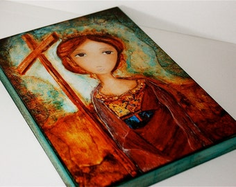 Saint Helena -  Giclee print mounted on Wood (4 x 5 inches) Folk Art  by FLOR LARIOS