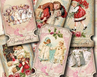 CHRISTMAS WISHES TIcKETS Collage Digital Images -printable download file-
