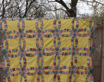 Vintage Quilt Top Yellow Double Wedding Ring Feedsack Antique Quilt Top Unfinished Quilt