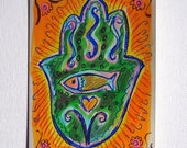 Hamsa Hand (Fish and Heart) - Hand Painted Card