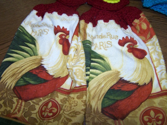 Roosters Hanging Towels  Set of two Crocheted Towels - Unique - Colorful - Gift