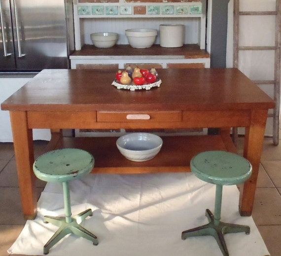 Kitchen Island Made From Old Desk: Vintage Tiger Oak Library Table Or Kitchen Island