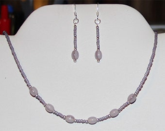 Light Purple and Silver Seed Bead Necklace