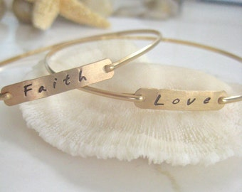 Gold Bangles - Faith and Love Stackable