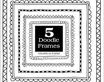 5  Digital Doodle Frames. Instant Download. Photoshop Brushes & Stamps. Personal and Limited Commercial Use.