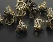CLEARANCE Bronze Bead Cap 50 Bead Cone Basket Antique Bronze Filigree Bendable 9mm x 7mm (1016cap09z1)os