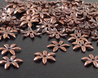 Brass Copper Bead Cap 100 Antique Copper Flower Victorian 6 point Tiny Bendable 7.5mm (1118cap07c1)xz