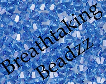 Swarovski Beads Crystal Bead 50 Sapphire 4mm Bicone 5328 Many Colors In Stock