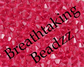 CLEARANCE Swarovski Crystal Beads 50 Indian Pink 4mm Bicone 5328 Many Colors In Stock,os