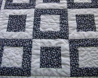 Modern Table Runner Snack Mat Candle Mat Doll Quilt in Navy and White