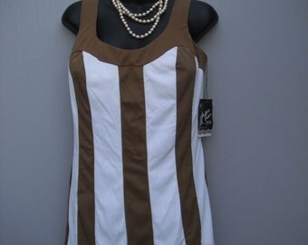 Vintage 1960s De Weese Designs Swimsuit, Brown/White Onepiece, New w/Tags, NOS,  Size 16
