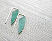Geometric Verdigris Earrings, Long - brass and sterling silver dangle earrings, verdigris patina, Etsy