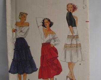 Vintage Butterick Pattern 5671 Misses Skirt Womans Clothing Pattern Sewing Pattern Skirt Pattern Tiered Skirt Pattern Vintage Skirt
