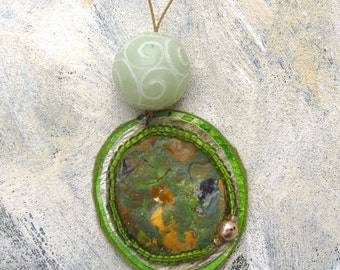 Earthen green treasure pendant upcycled palette
