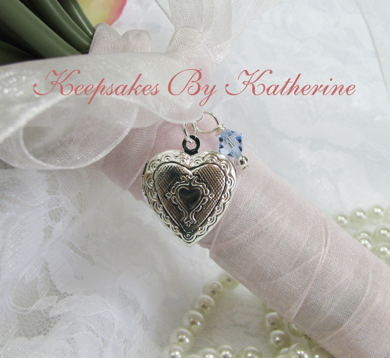 Bridal Bouquet Locket Charm : Heart locket bridal bouquet charm by keepsakesbykatherine