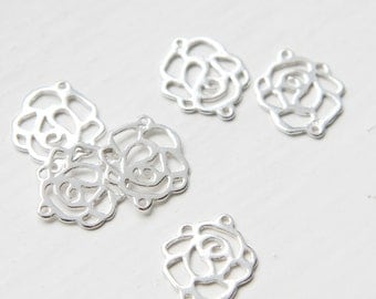 2pcs Sterling Silver Rose Links - 15x13mm