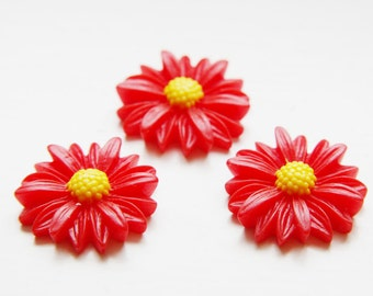 6pcs Acrylic Flower Cabochons-Red and Yellow  28mm (F0007-A-76)