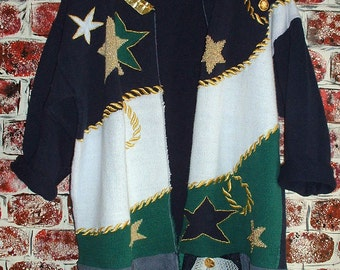 """Handmade Vintage Recycled Sweater Eco Friendly Repurposed Tattered Navy Green Gold White from """"Pretty in Plus"""""""