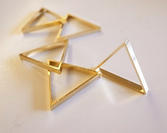10 pieces of cut raw brass tube outline charm in triangle geometric shape deco 25 x2.5mm Plated in 24k Gold