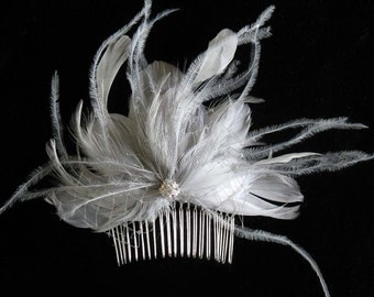 Bridal gray feather jewelled comb - wedding feather fascinator