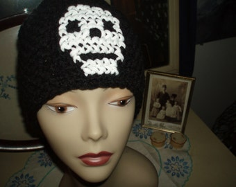 crochet black skull beanie hat