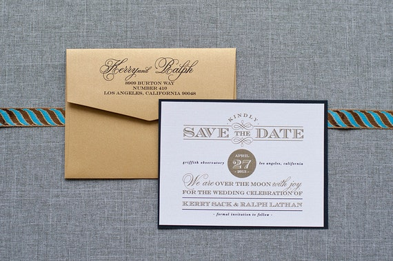 Art Deco Save the Date, Gatsby Inspired Save the Date,  Formal Black Save the Date, Gold Save the Date - Custom - Kerry and Ralph