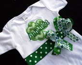 St. Patrick's Day Bodysuit with Shamrock Applique