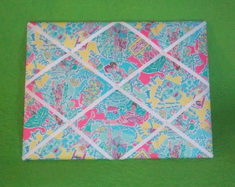 New memo board made with Lilly Pulitzer Multi In The Beginning fabric