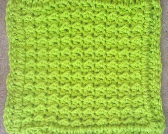 Handmade Crocheted Washcloths, Lime Green, Beige, Multicolor, Bath, Cotton