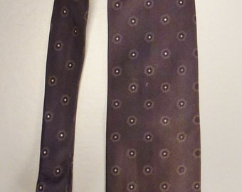 Designer Charles JOURDAN Neck TIE SILK  Circles iTaly handmade 1980s  Dead Stock  60 x 3plus in