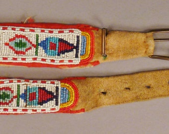 NATIVE AMERICAN Beaded BELT Chamois ends Stunning designs colors 39 in long app 1.5 in wide