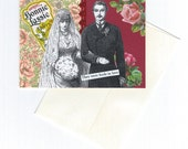Romantic Vintage Style Wedding Card Collage Art Handmade Word Art Whimsical Geekery Quirky Victorian -- They Were Fools in Love