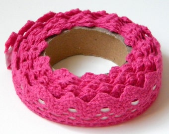 Hot Pink Lace Fabric Tape, Decorative Cotton Adhesive