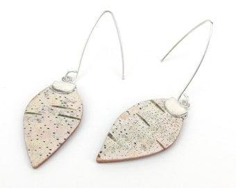 Small eco friendly birch bark earrings, Birch leaves