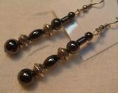 Hematite & Silver Earrings (E197)
