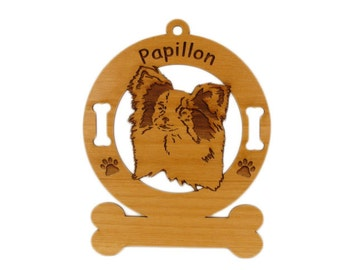 3657 Papillon Head Personalized Dog Ornament