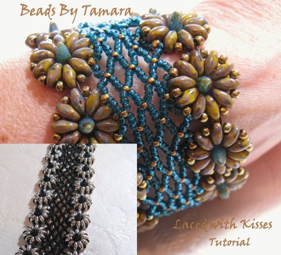 Laced With Kisses -  Bead Tutorial Pattern PDF, uses Czech Bohemian Baby Spike Beads and Twin or Super Duo Beads
