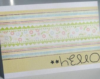 Handmade Blank Card - Hello