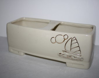 Sailboat 1950's Rectangular planter sailboat motif hand painted gold leaf accent ,Container, Pottery ,mid century,mad men era